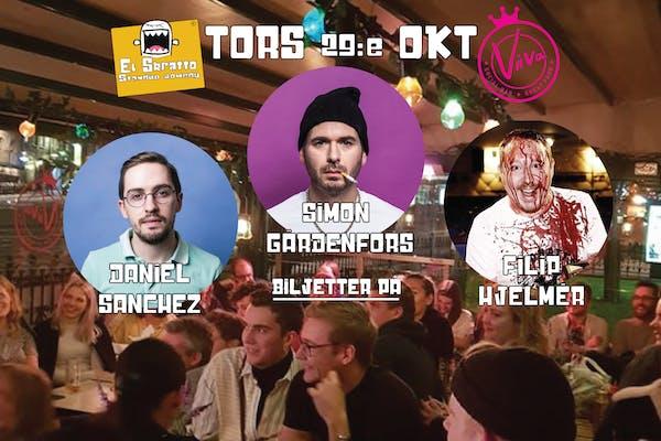 Stand-up med Simon Gärdenfors, Daniel Sanchez, Filip Hjelmer.