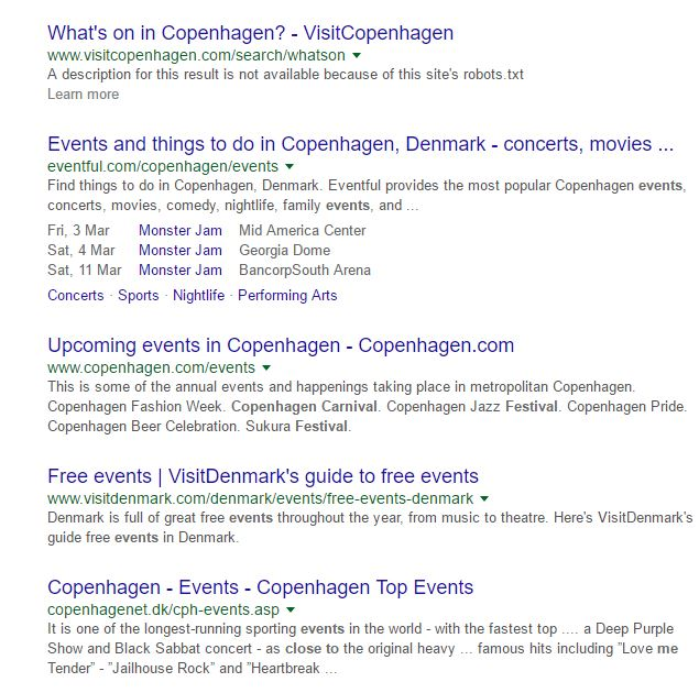 Where to find events: Google search results for Copenhagen