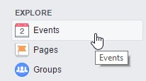 Where to find events: Facebook Explore menu