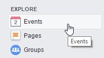 Where to find events: Facebook Explore menu