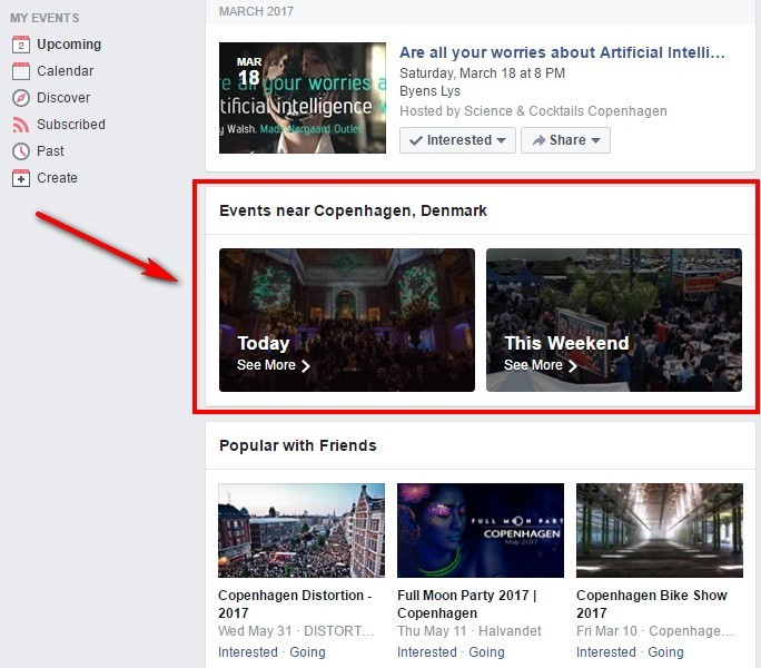 Where to find events: Facebook upcoming events feed
