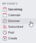 Where to find events: Facebook Discover tab for events