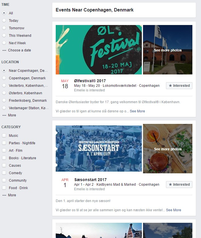 Where to find events: Facebook event filtering options