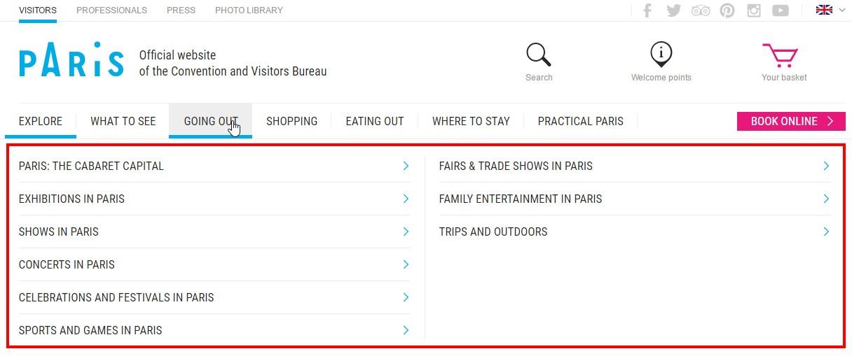 Where to find events: Paris tourism site