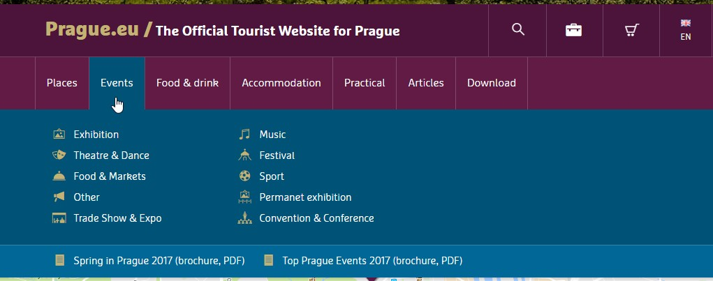 Where to find events: Prague tourism site