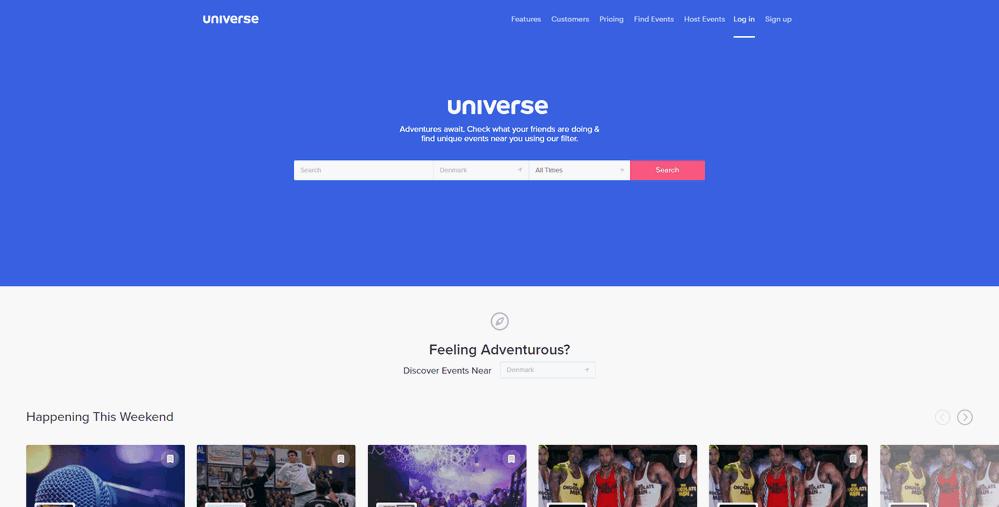 Event listing sites: Universe
