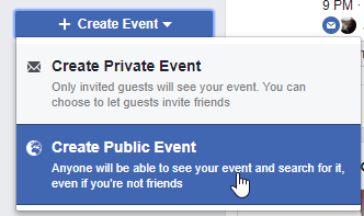 How to create an event on Facebook: Create Public Event dropdown